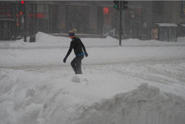 Sportler im Schnee