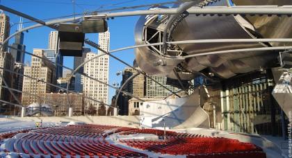 Jay Pritzker Pavilion, Millennium Park, Chicago, im Winter