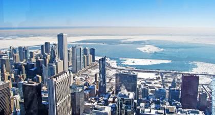 Millennium Park Chicago vom Willis Tower aus gesehen