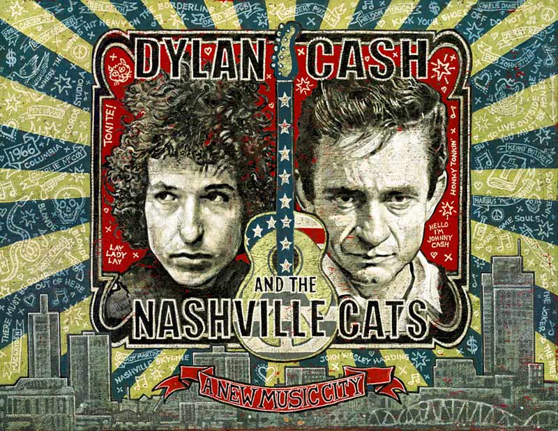 "Das Ausstellungsplakat ""Dylan, Cash And The Nashville Cats: A New Music City"" von Jon Langford. Foto: Country Music Hall of Fame & Museum"
