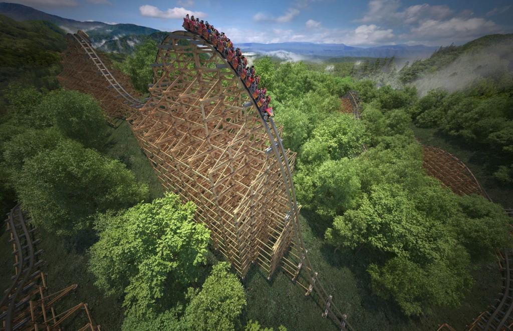 Holzachterbahn im Dollywood Themenpark