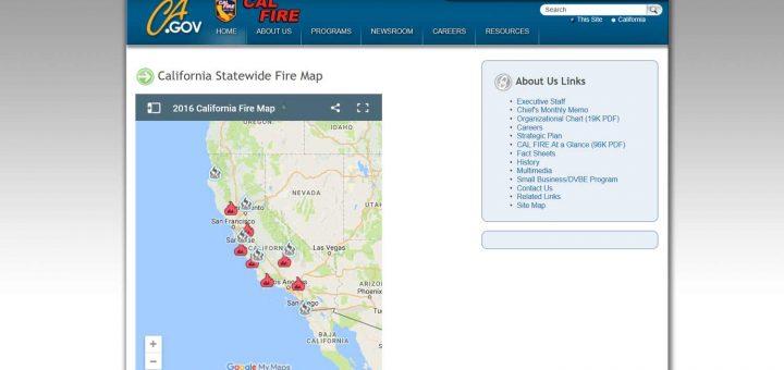 Kalifornien 2016 Waldbrände: Website: www.fire.ca.gov/general/firemaps