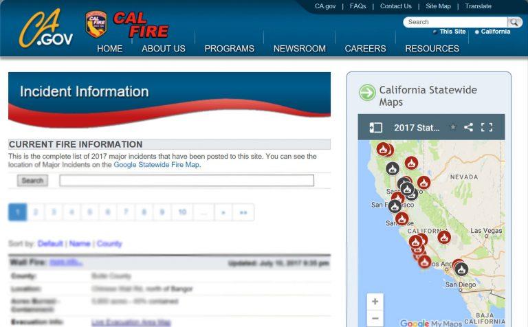 Großflächenbrände in Kalifornien