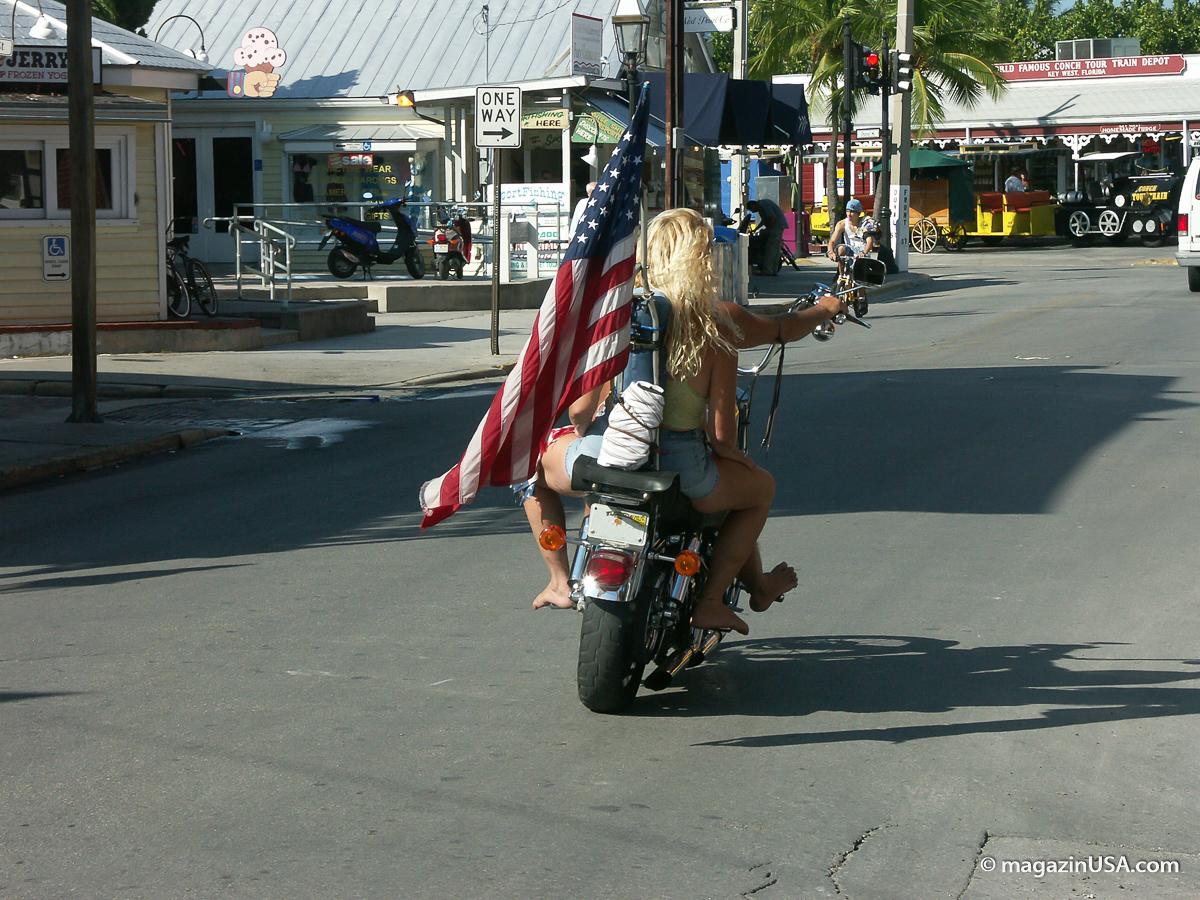 USA Flagge auf Motorrad