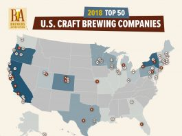 Top 50 Bierbrauereien in den USA 2018 (Quelle: Brewers Association, Boulder, CO)