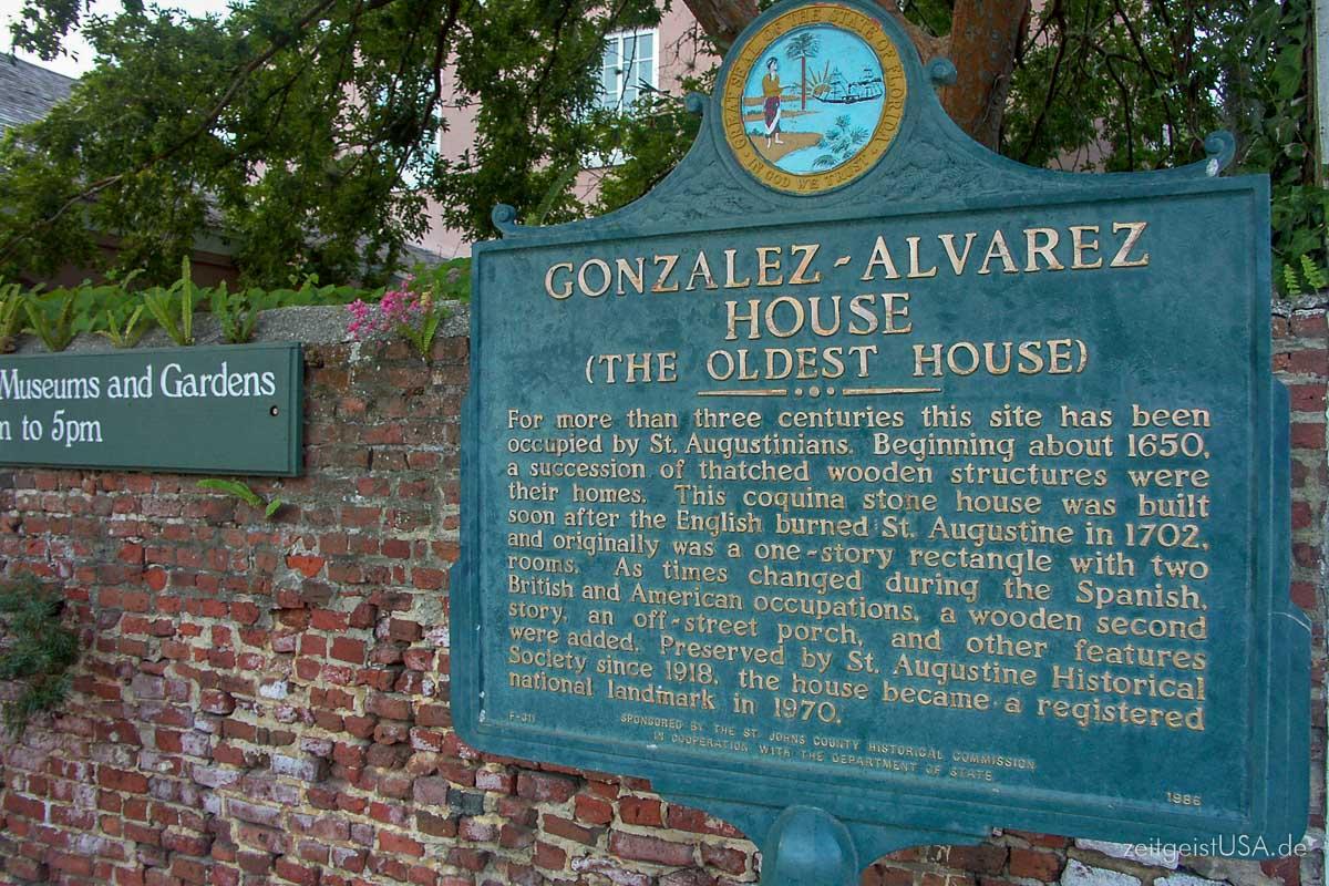 González–Alvarez House in St. Augustine, Florida
