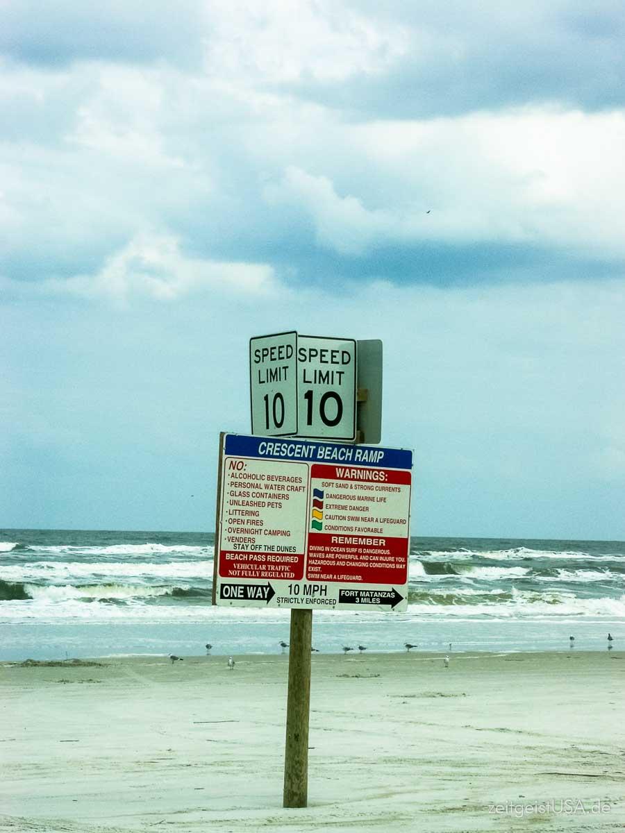 Crescent Beach südlich von St. Augustine. Florida