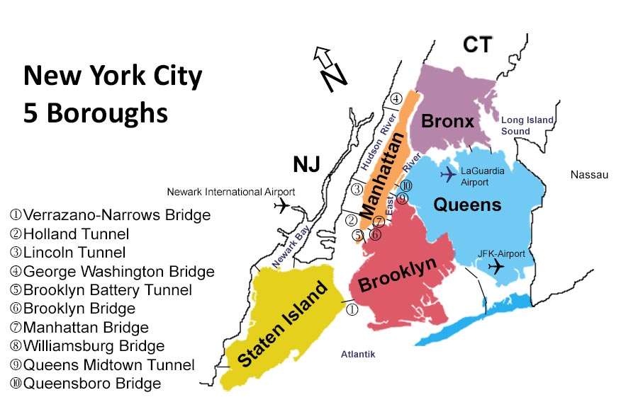 New York's 5 Boroughs: Bronx, Queen, Brooklyn, Manhattan, Staten Island