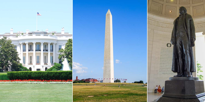 Washington DC (Bild: White House, Washington Memorial, Jefferson Memorial)