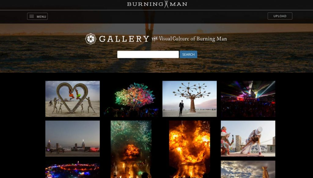 Burning Man Photo Gallery (Screenshot https://gallery.burningman.org)