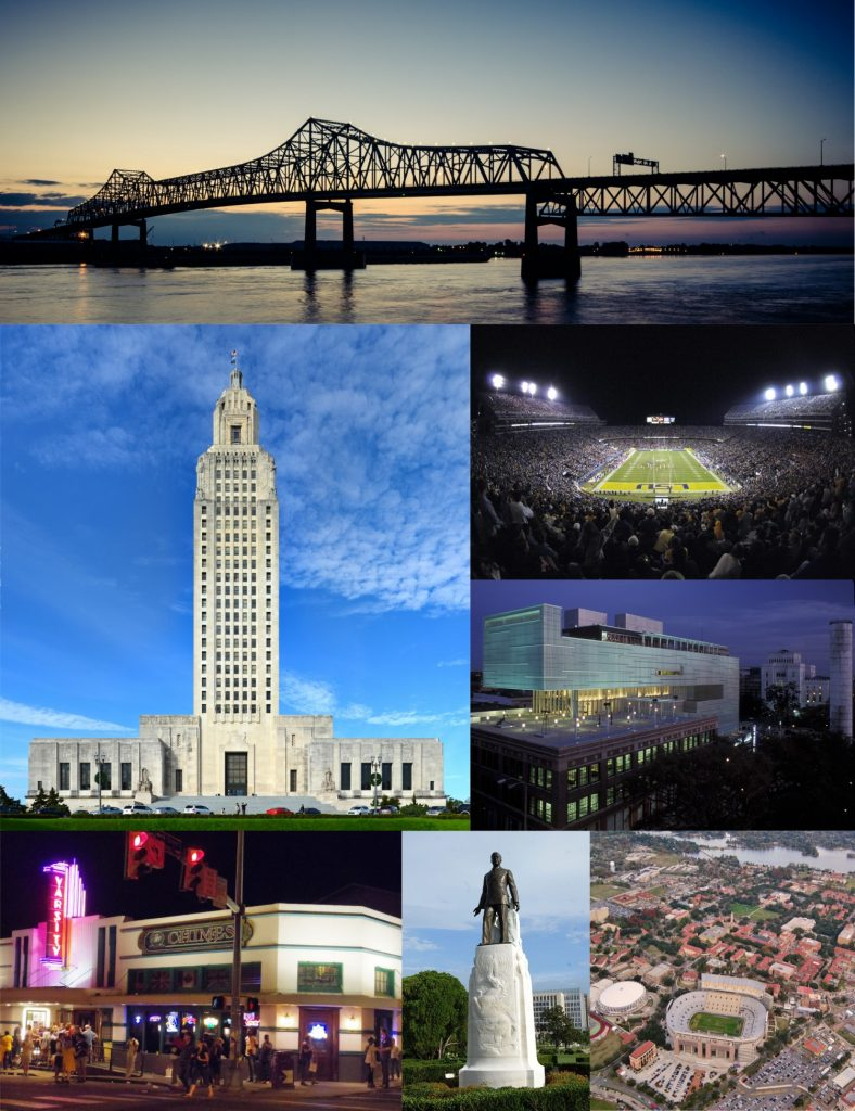 I-10 Mississippi River Bridge, Louisiana State Capitol, Nightgame, Shaw Center, Louisiana State University (aerial view), Huey Long Statue & Burial Site, The Varisity and the Chimes in Baton Rouge in der Nacht [Bilder Compiled and edited by WClarke / CC BY-SA (https://creativecommons.org/licenses/by-sa/4.0)]
