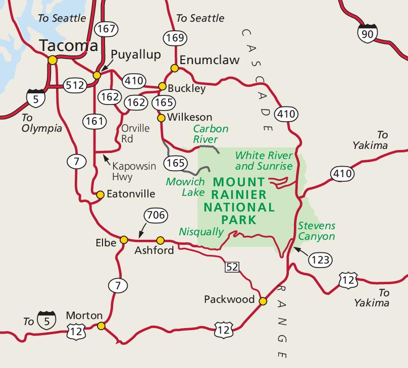 Mt. Rainier Umgebungskarte [NPS]