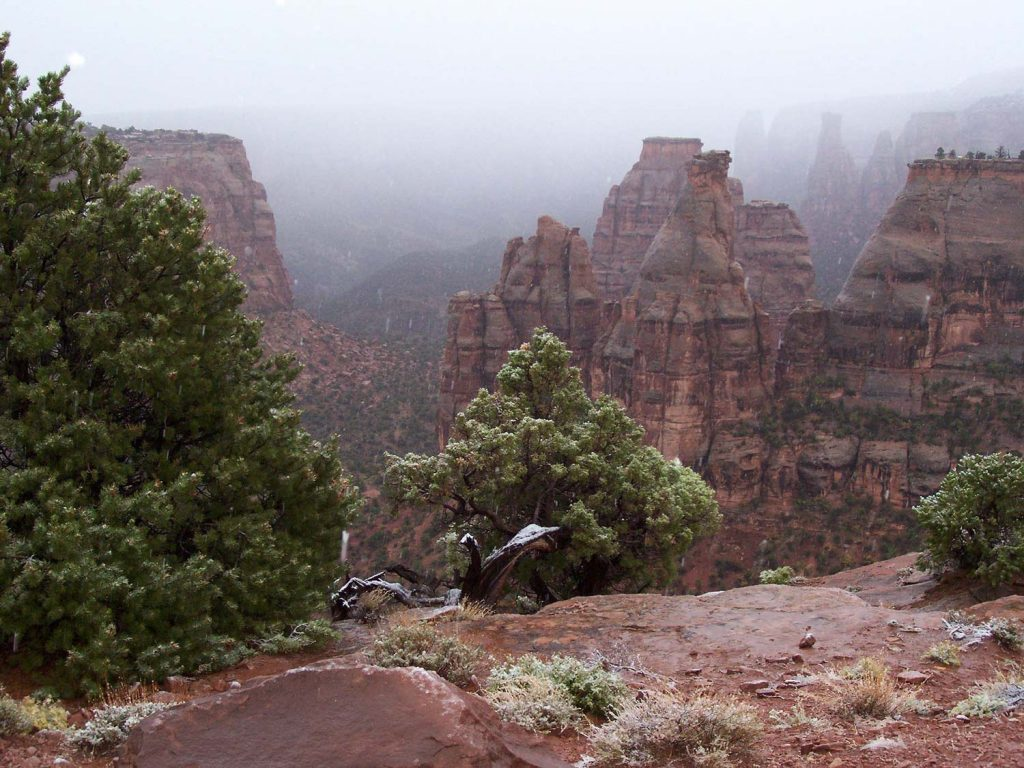 Typischer Morgennebel im Monument Canyon, Colorado National Monument, Colorado USA [photo: NPS]