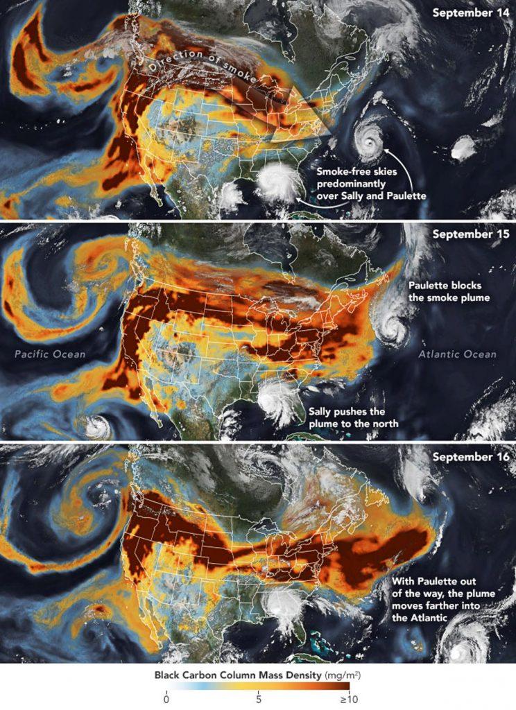 Rauch getragen von Wind zieht sich quer über die USA. Hurricanes bestimmen die Ausbreitung ebenfalls. (Quelle: NASA; 2020-09-20)